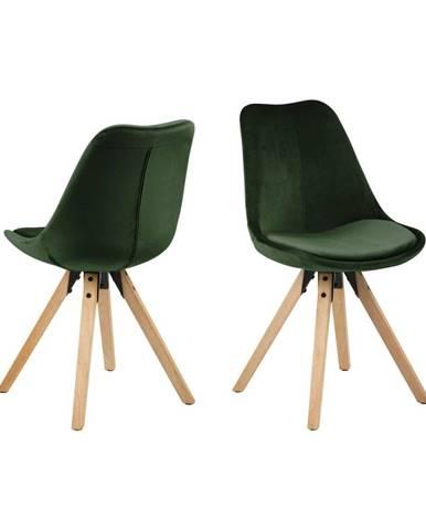 Sada 2 khaki zelených jedálenských stoličiek Actona Dima Velvet