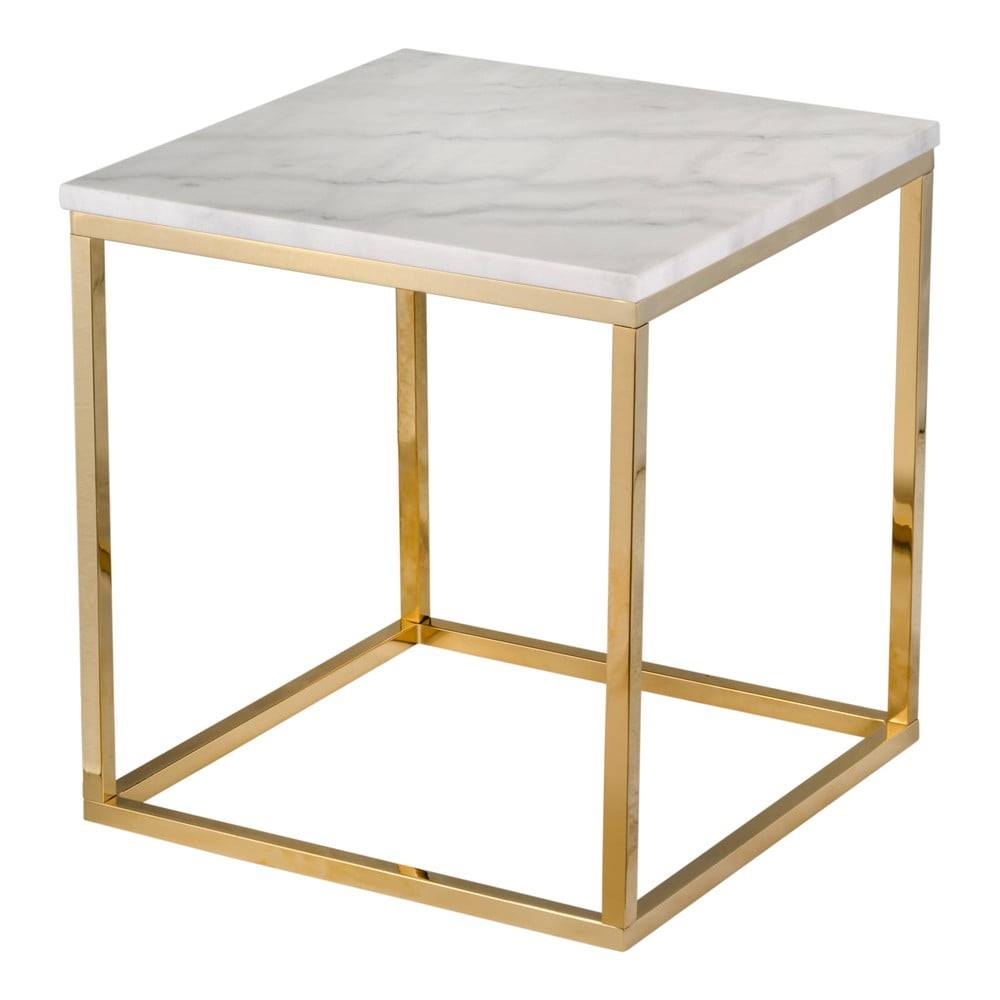 RGE Biely mramorový stolík s podnožím v zlatej farbe RGE Accent, 50 x 50 cm