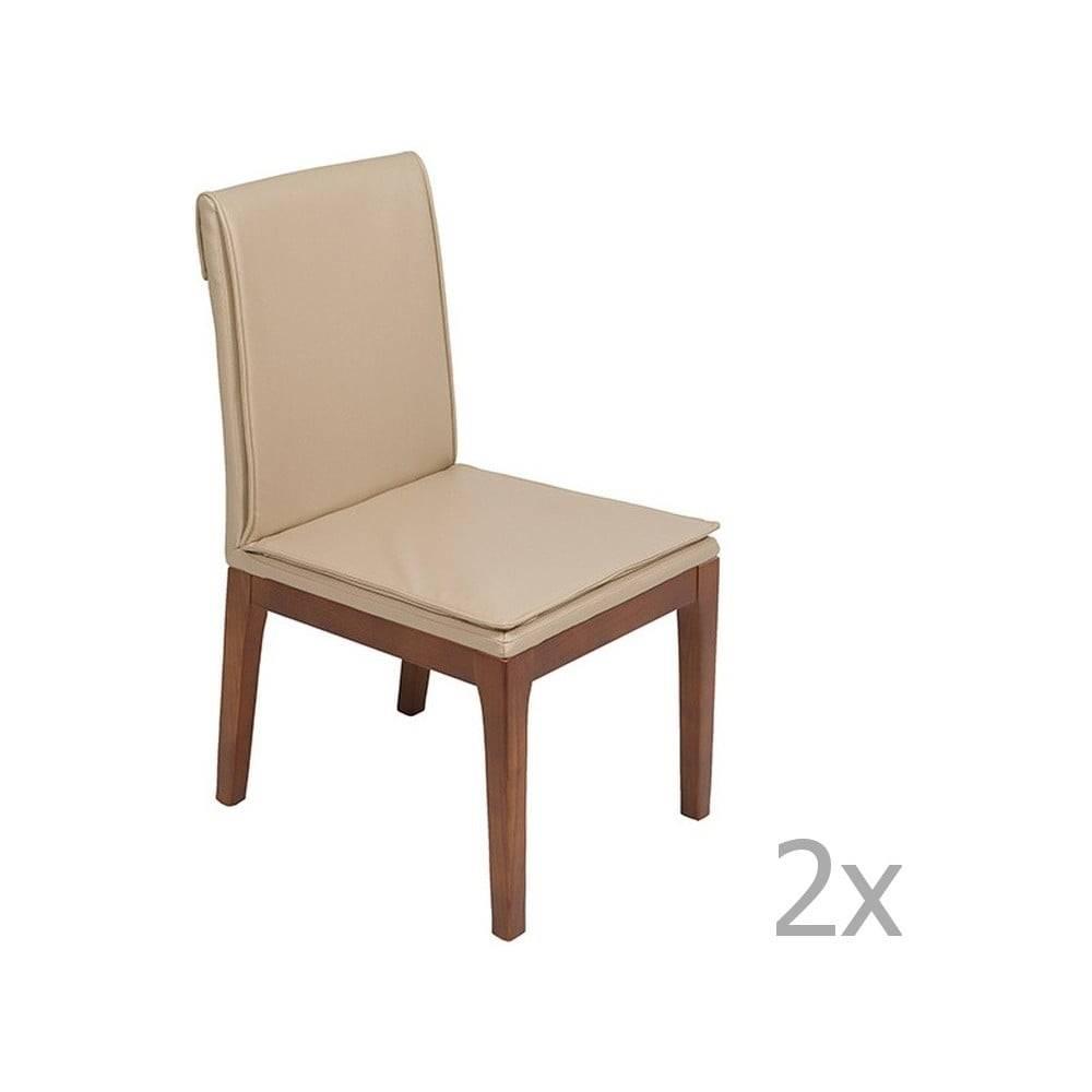 Santiago Pons Sada 2 krémovo-bielych jedálenských stoličiek s konštrukciou z dubového dreva Santiago Pons Donato