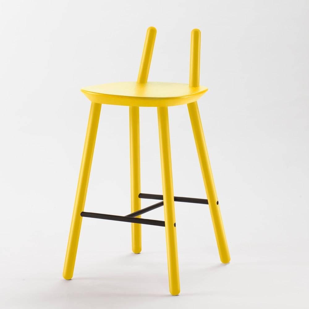 EMKO Žltá barová stolička z masívu EMKO Naïve