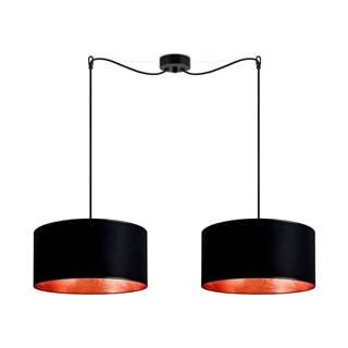 Čierne dvojité stropné svietidlo s vnútrajškom v medenej farbe Sotto Luce Mika