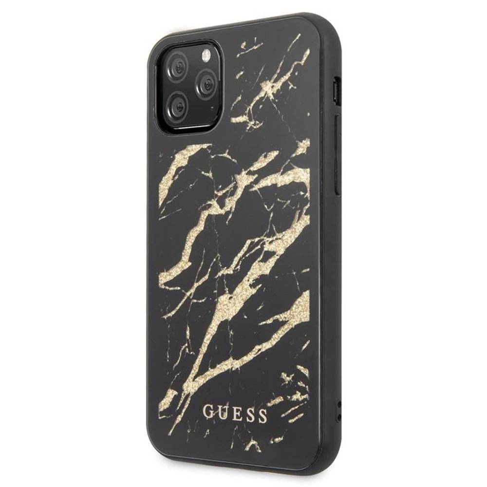 Guess Kryt na mobil Guess Marble Glass na iPhone 11 Pro Max čierny
