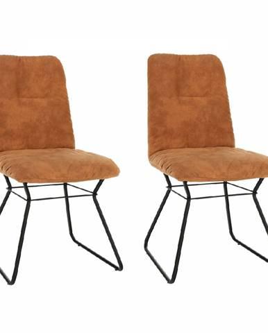 2 kusy stolička hnedá látka s efektom brúsenej kože/čierny kov ALMIRA